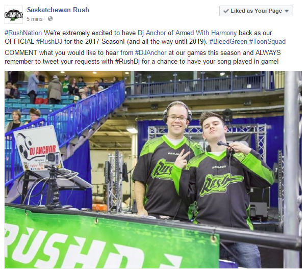 Dj Anchor Official Saskatchewan Rush DJ Signs A 3 Year DJ With The Team - Image 1