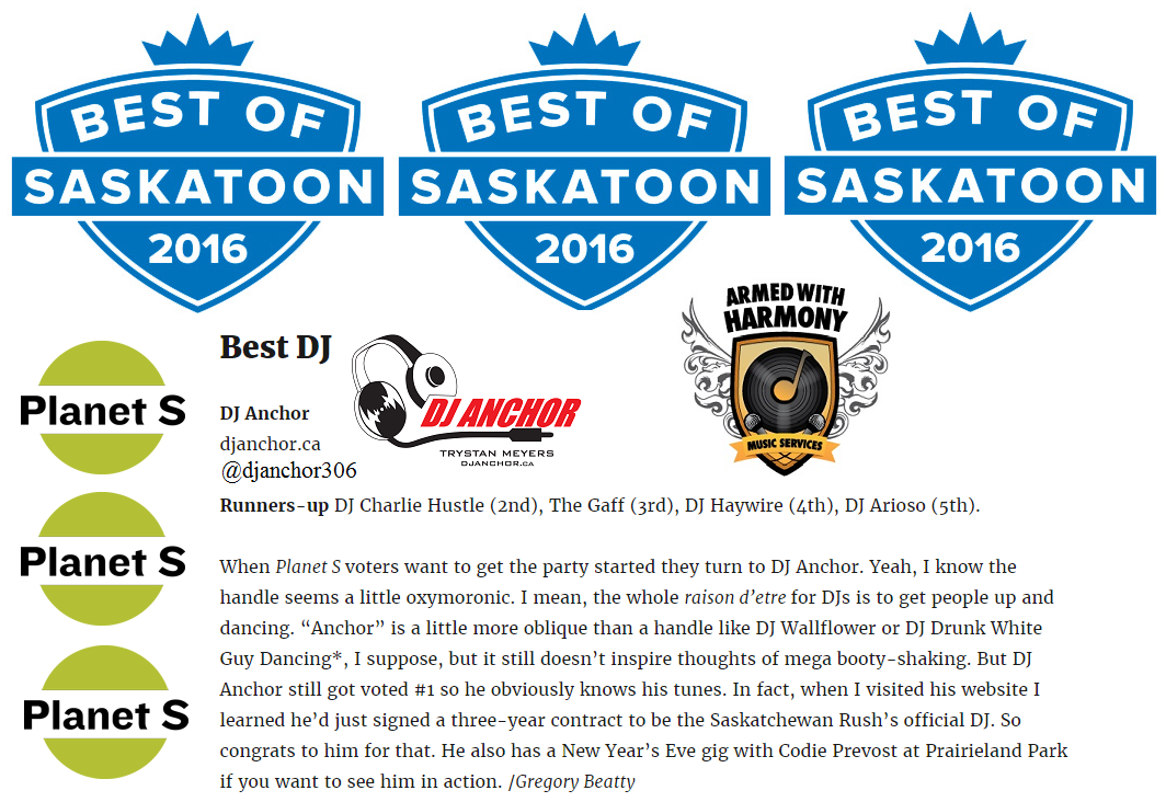 Dj Anchor Voted As Best Saskatoon DJ By Planet S Magazine - Image 1