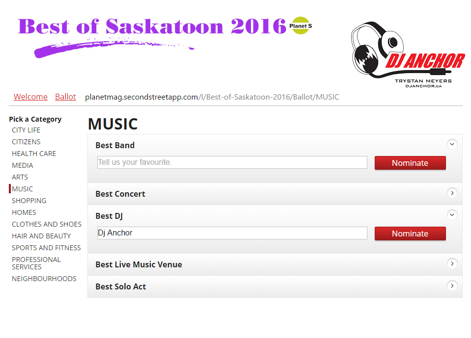 Nominate or Vote DJ Anchor Saskatoon as Best DJ or Armed With Harmony as Best Saskatoon DJ 2016 Planet S Magazine Best Of Edition - Image 1