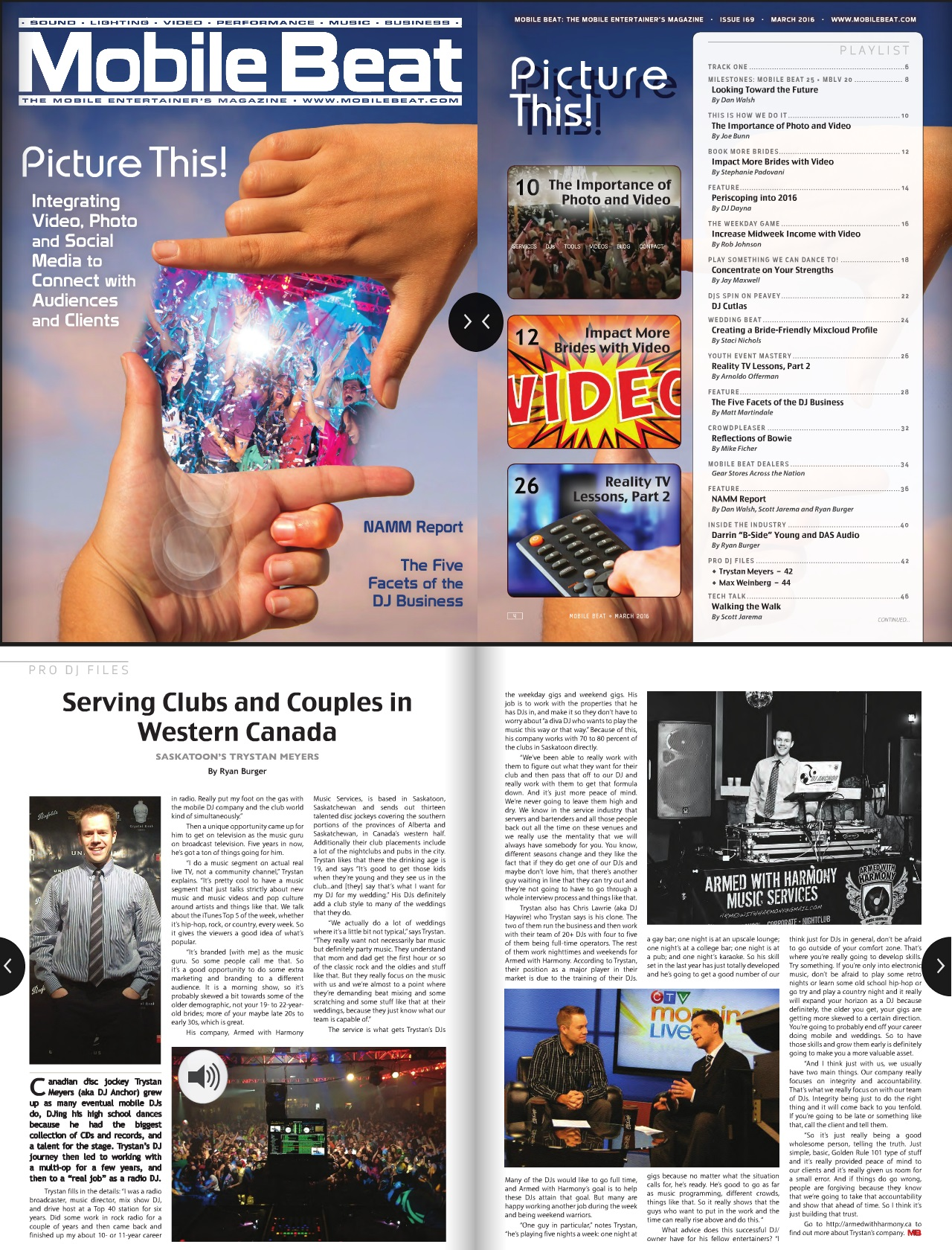 Saskatoon DJ Anchor of Armed With Harmony featured in Mobile Beat Magazine The Worlds Biggest Mobile & Club DJ Mag - Image 1