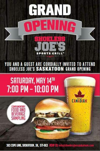 Shoeless Joe's Saskatoon Grand Opening Tonight w/ Dj Anchor of Armed With Harmony - Image 1