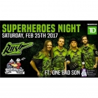 Sask Rush at Home vs. Calgary Tonight Super Hero Theme Tonight! What songs should I play for this theme? Oh ya and @onebadson playing half time too!